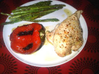 Chicken with asparagus and roasted red pepper