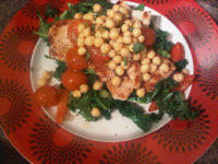 Turkey breast with chickpeas and mixed veg