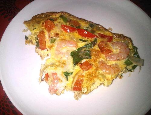 King prawn and spring veg omelette