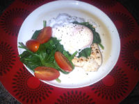 Turkey breast with spinach and a poached egg