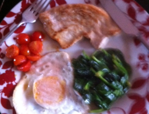 Clean full English breakfast (Turkey, fried egg, spinach & tomatoes)