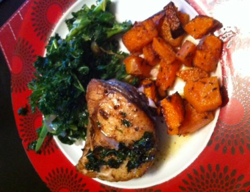 Pan-fried hake with cumin roasted squash and coconut curly kale