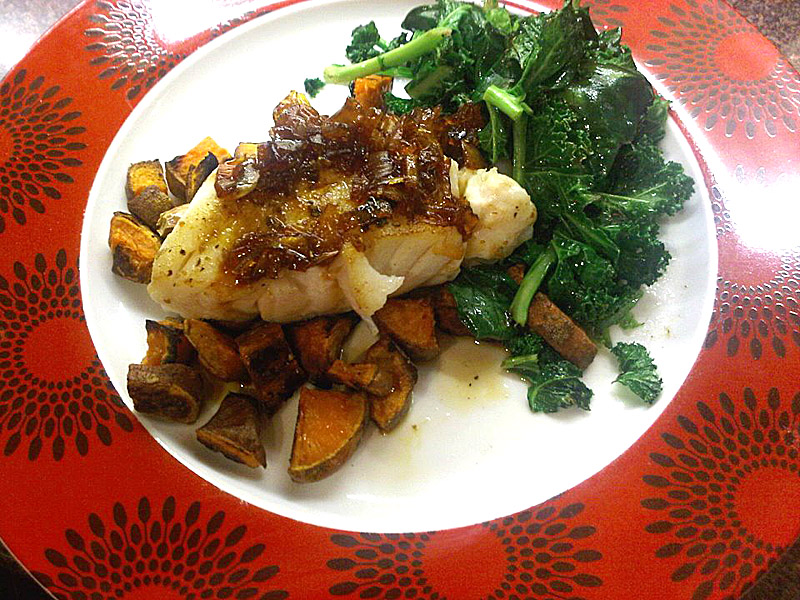 Cumin cod loin with sweet potato chunks and shallot and lime sauce