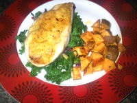 Chicken breast with kale and sweet potato chunks