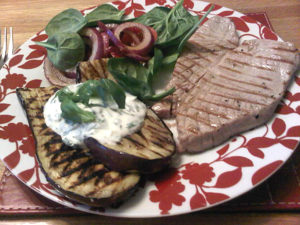 Seared tuna with griddled aubergine, a tomato and balsamic onion salad ...