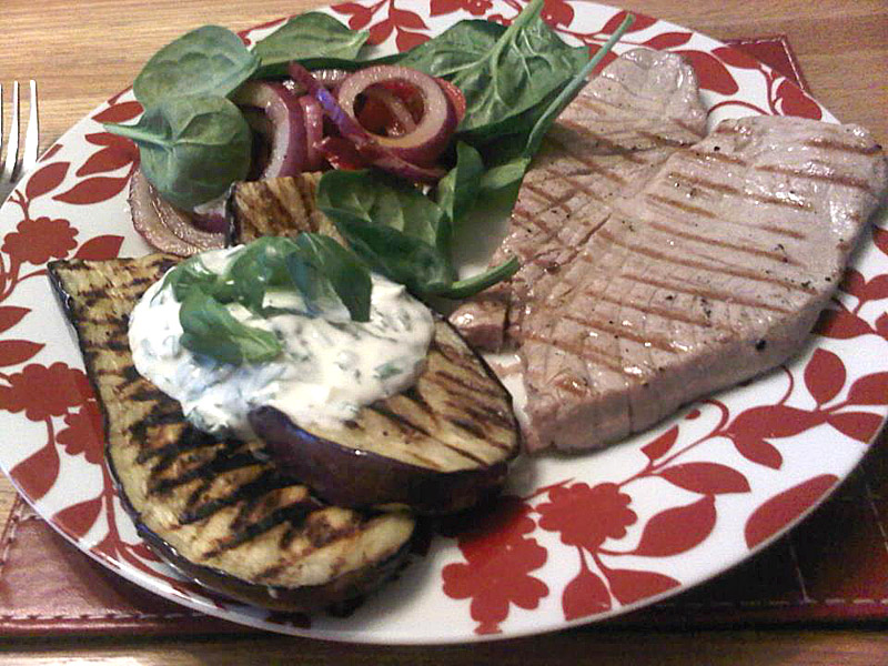 Seared tuna with aubergine and herb yoghurt
