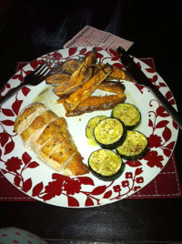 Roast chicken with courgette and sweet potato chips