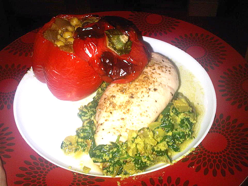 Chicken and spinach with chickpea stuffed peppers