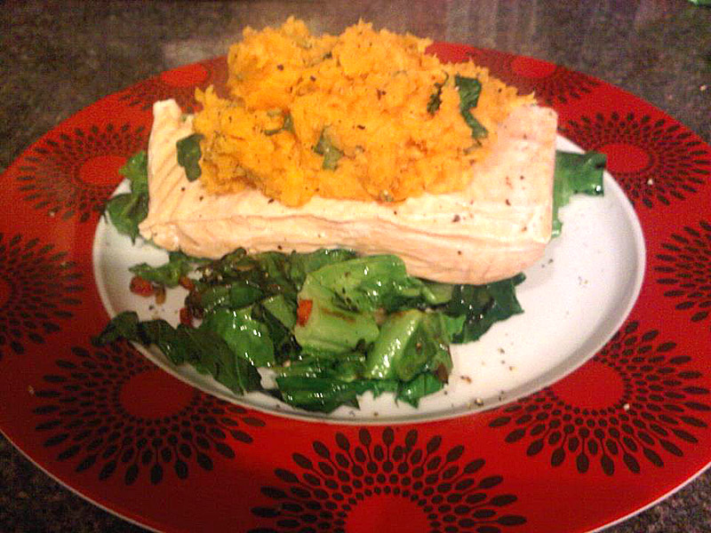 Poached salmon with spring greens and sweet potato mash