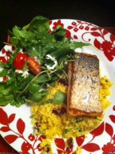 Rice and tasty:  Cauliflower rice with salmon &  salad