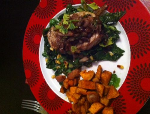 Griddled tuna, spring greens & cumin sweet potatoes topped with balsamic shallots